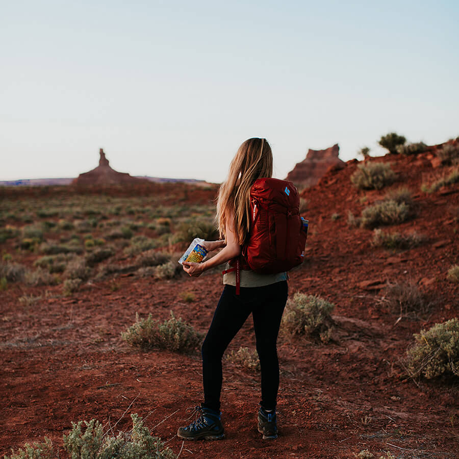 hiking with outdoor snacks by SunRidge Farms in Utah