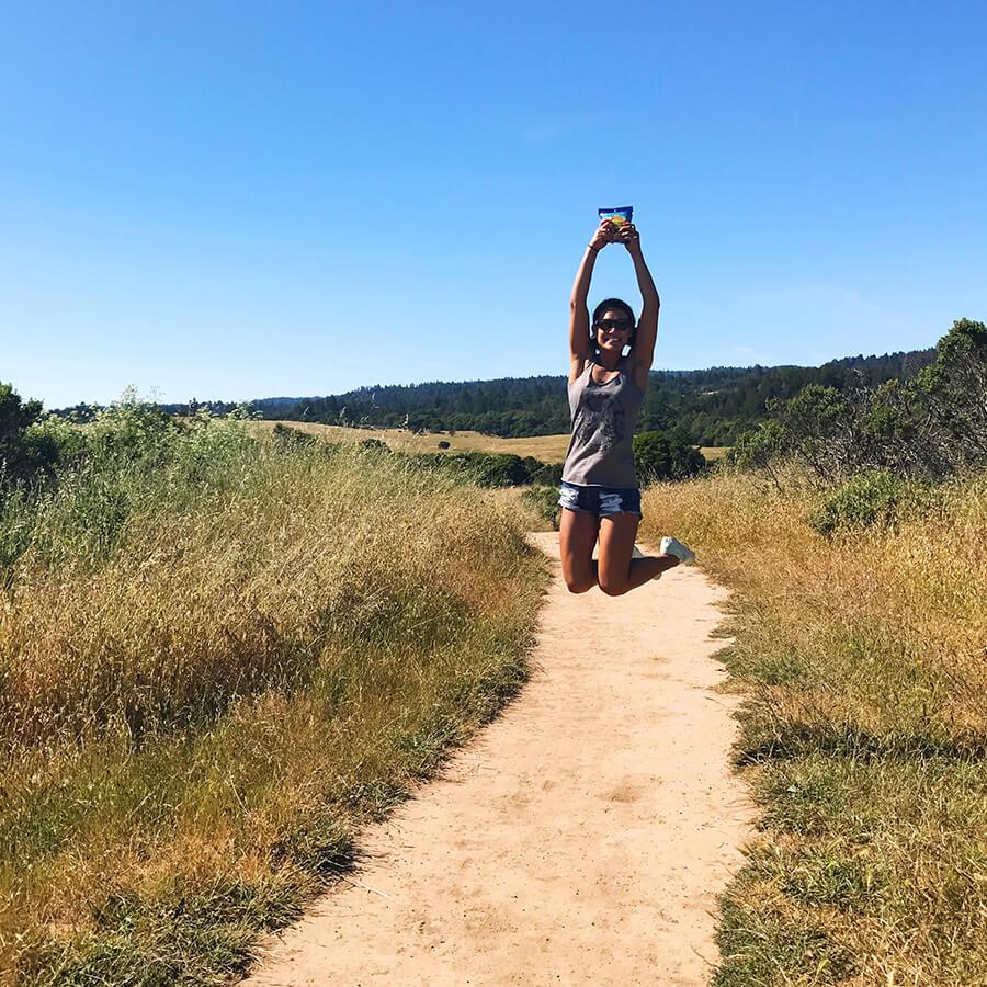 hiking with outdoor snacks by SunRidge Farms in Big Basin California